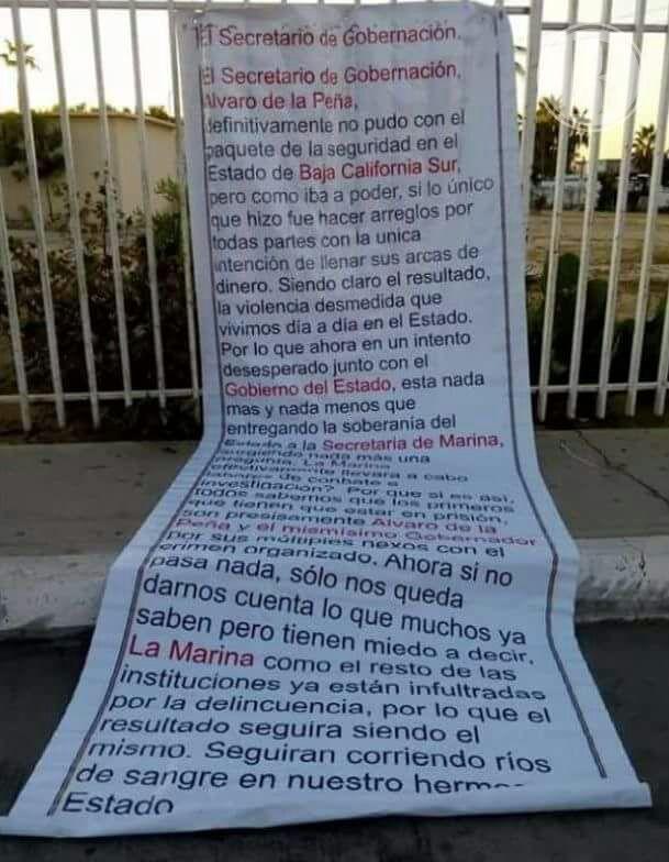 Amenazan al Gobierno de Baja California Sur a través de narcomantas