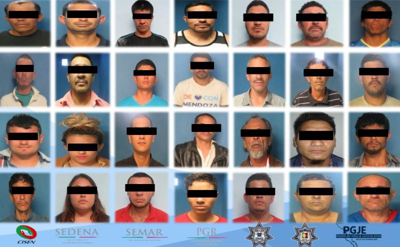 detenidos en Baja California sur por delincuencia y delitos a la salud y homicidos