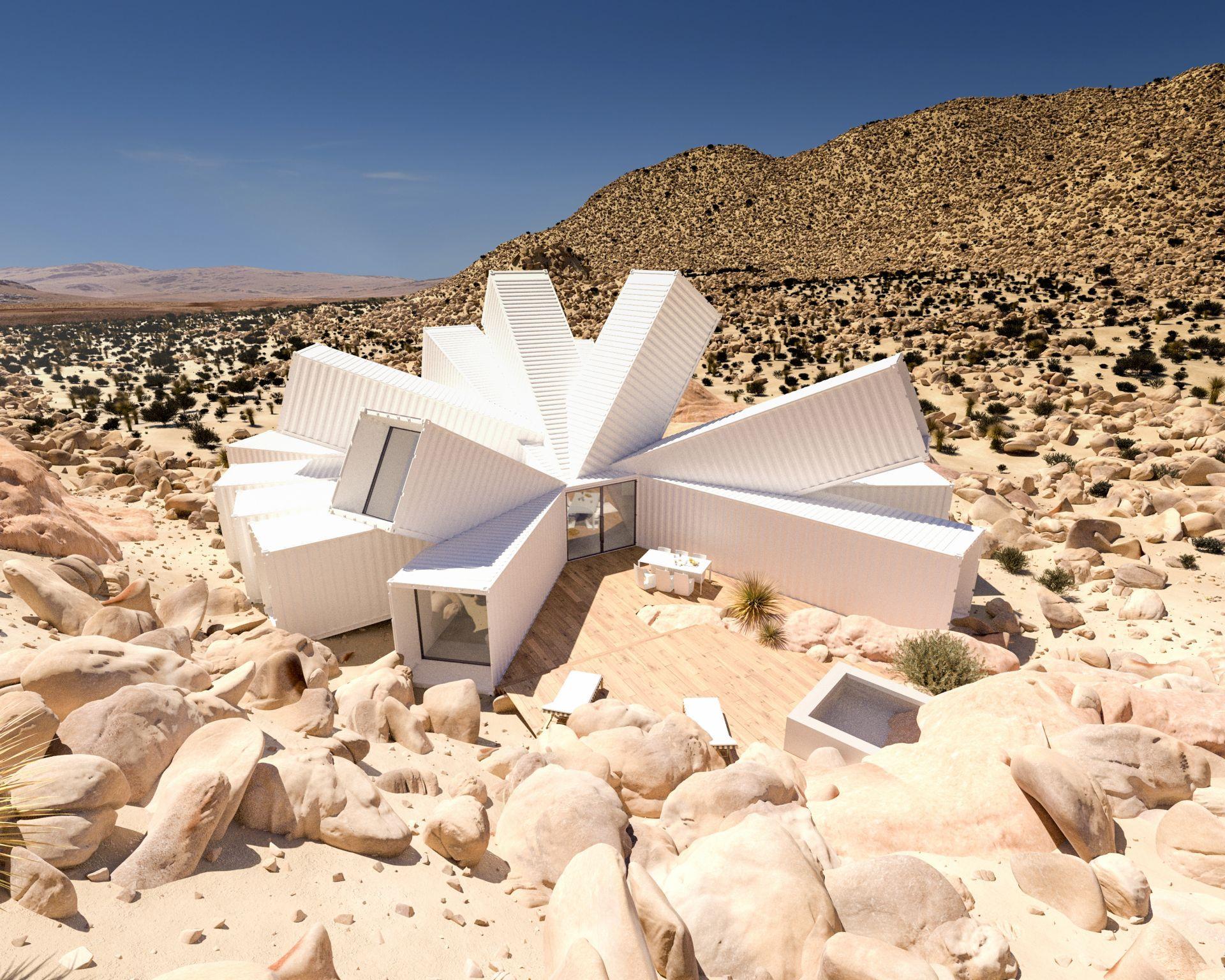 Imagen digital de cómo quedará la casa que se comienza a construir el próximo año en el desierto de California.