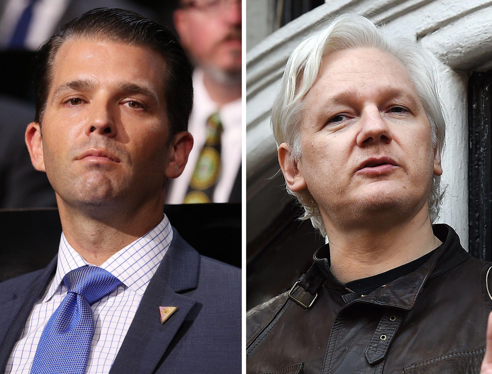 Combo de imágenes que muestra a Donald Trump Jr. (izda), el hijo mayor del presidente estadounidense, en Cleveland, Estados Unidos, el 18 de julio del 2016, y el fundador de Wikileaks Julian Assange, en la embajada de Ecuador de Londres, Reino Unido, el 19 de mayo del 2017. Trump Jr. intercambió mensajes con Wikileaks durante la campaña a la Casa Blanca de hace un año, según reconoció él mismo este lunes por la noche.