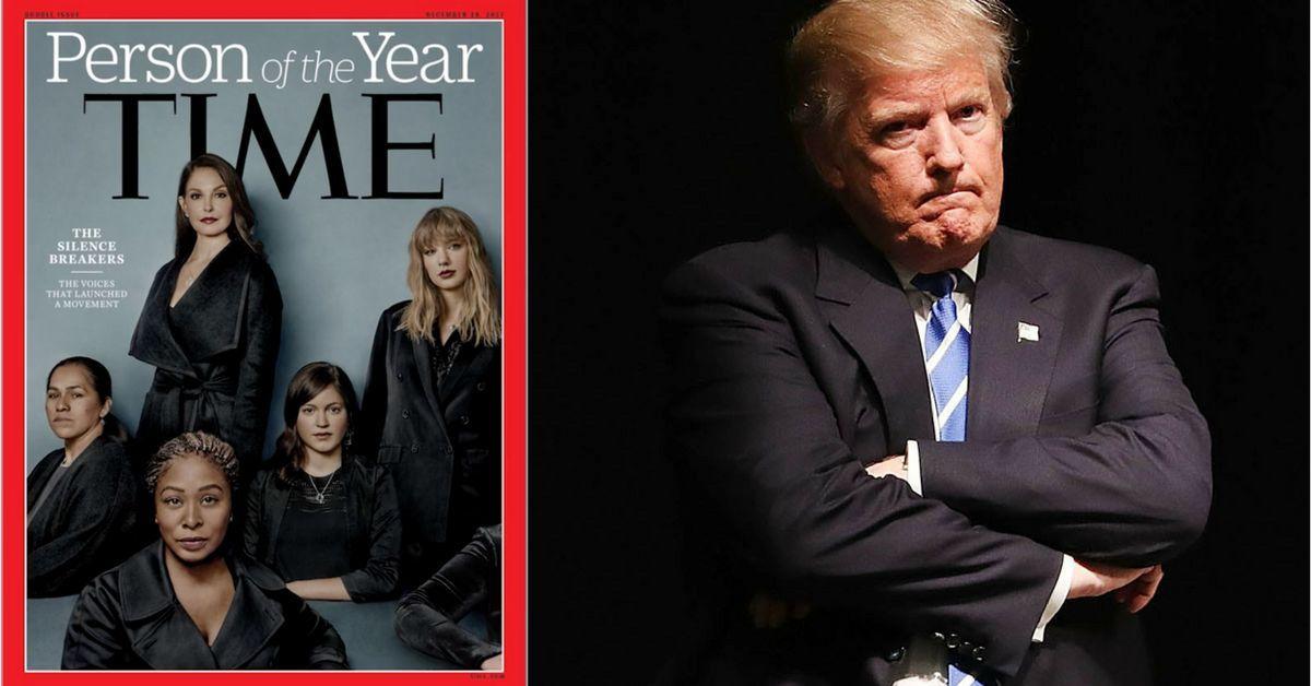 Combo de la portada de la revista Time 2017 y el Presidente de Estados Unidos Donald Trump.