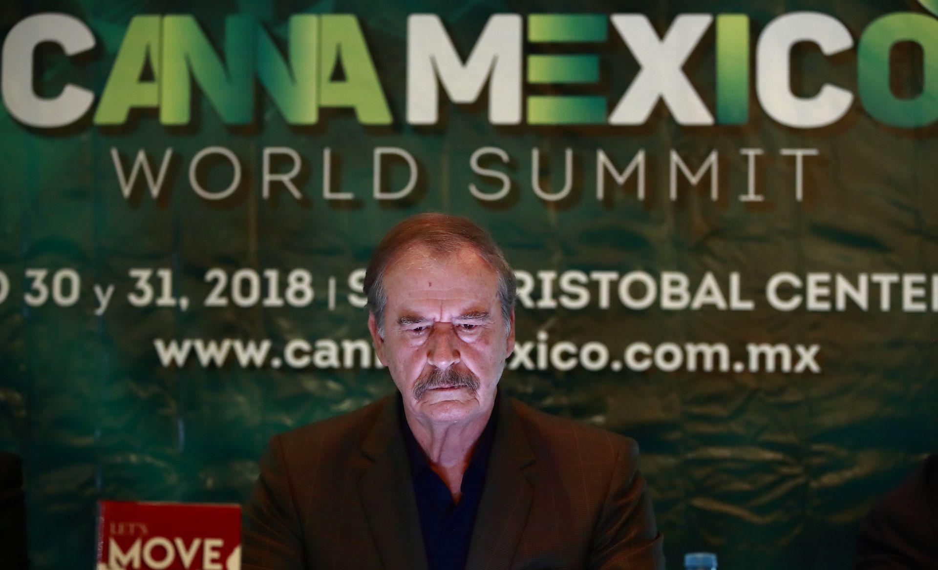 ElexpresidentedeMéxicoVicenteFoxparticipaduranteunaruedadeprensahoy,miércoles11deabrilde2018,paralapresentacióndeunforosobrelaindustriadelcannabis,enCiudaddeMéxico(México)