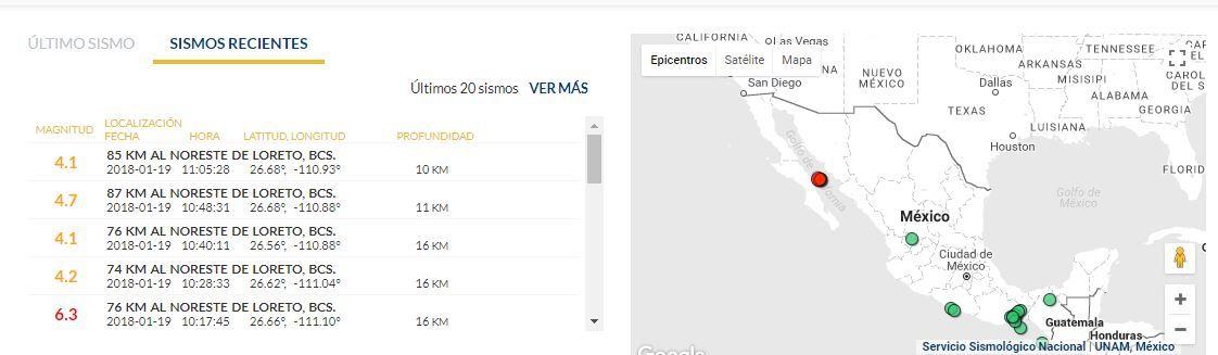 sismo en Baja California sur