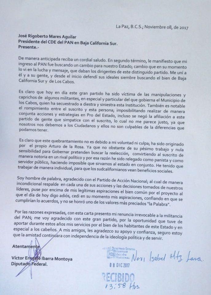 Renuncia al PAN Diputado Ernesto Ibarra