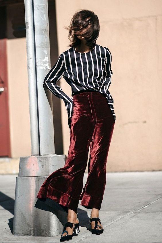 pantalon de terciopelo rojo