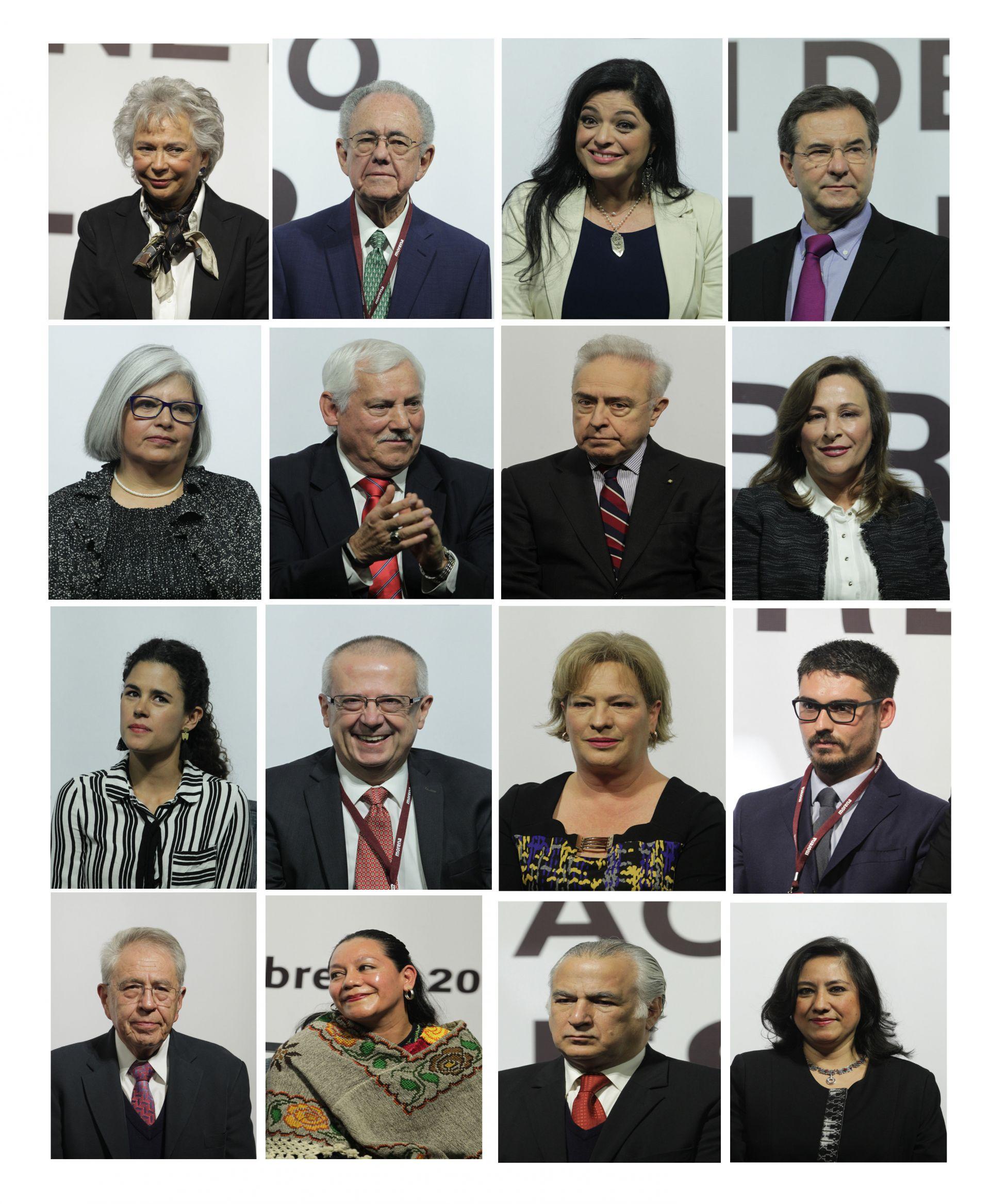Combo de fotografías de los funcionarios que podrían ocupar los puestos de ministros en el gabinete del candidato de Morena, el Partido del Trabajo (PT) y Encuentro Social (PES), Andrés Manuel López Obrador