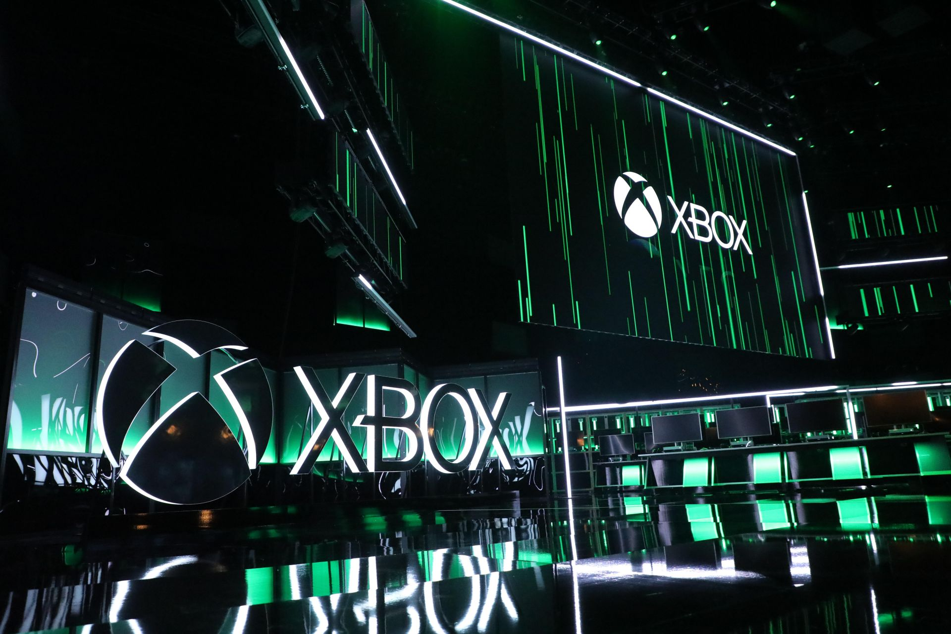 The stage is lit for the Xbox press conference at the Microsoft Theater prior to the E3 expo