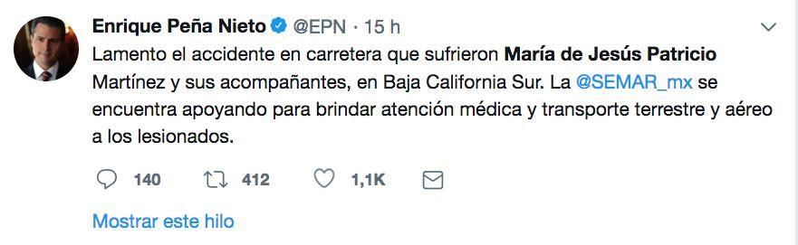 Accidente Marichuy Twitter EPN