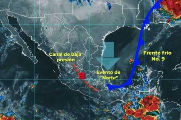 Frente Frío Número 9 ocasionará lluvias, bajas temperaturas en México