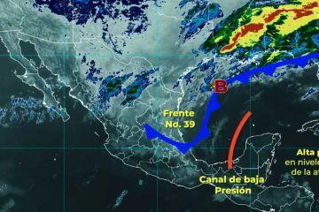 Clima: El Frente Frío Número 39 ocasionará lluvias muy fuertes con descargas eléctricas y posibles granizadas