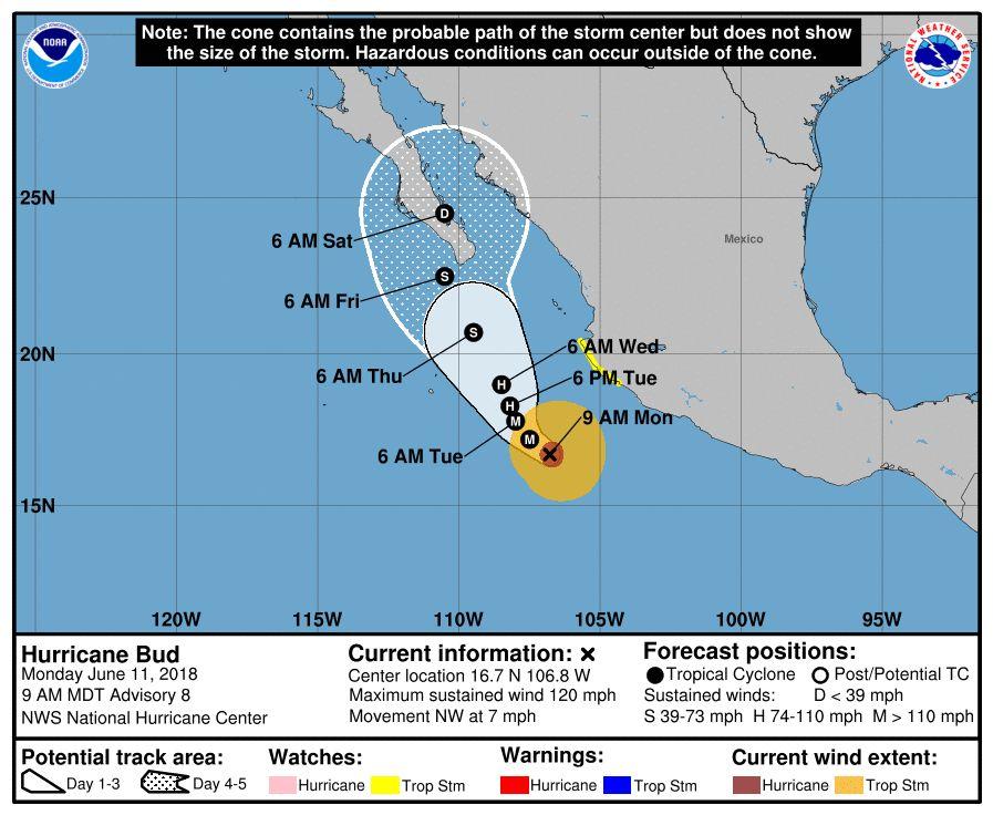 huracán bud categoria 3 NOAA