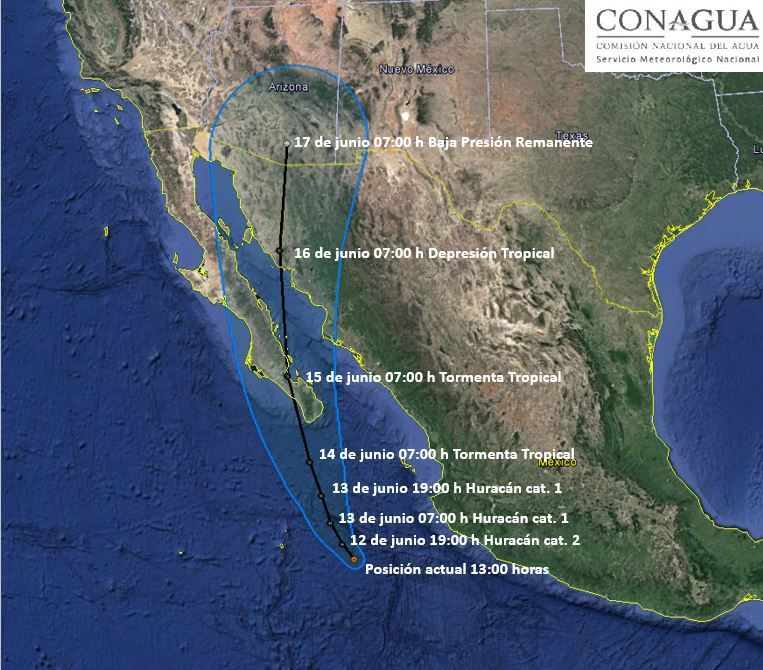 huracán bud se degrada a categoria 3