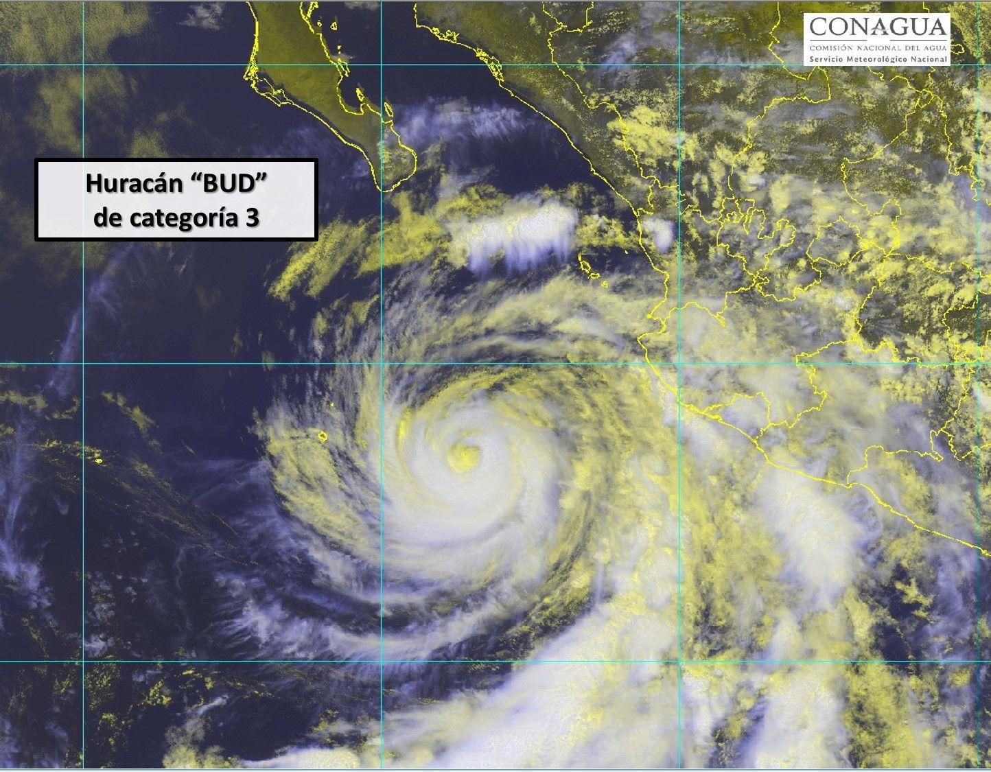 huracán bud categoria 3 aviso 24