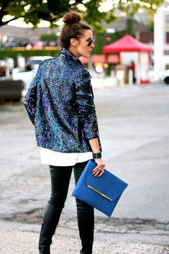 saco de lentejuela azul